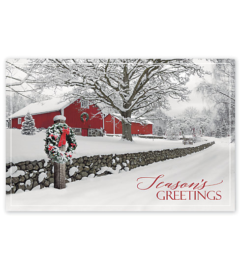 Send the gift of peace and tranquility with this beautiful postcard set on a classic winter scene.