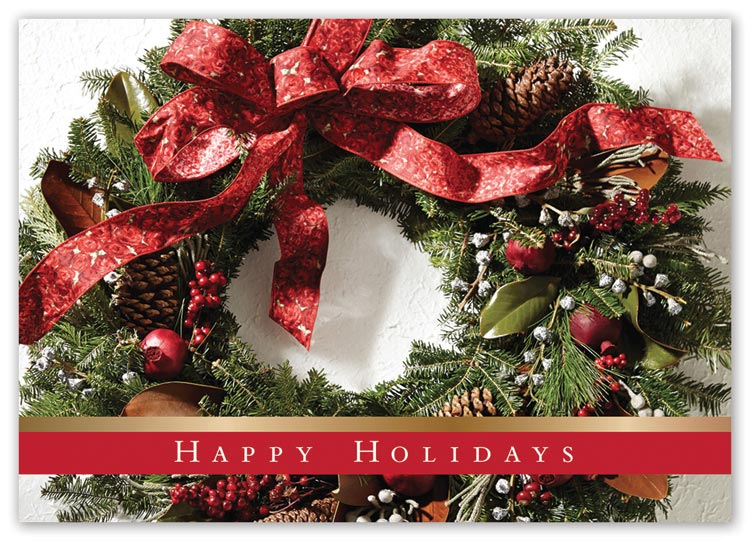 Budget holiday cards with dappled wreath image and imprint limited to black ink