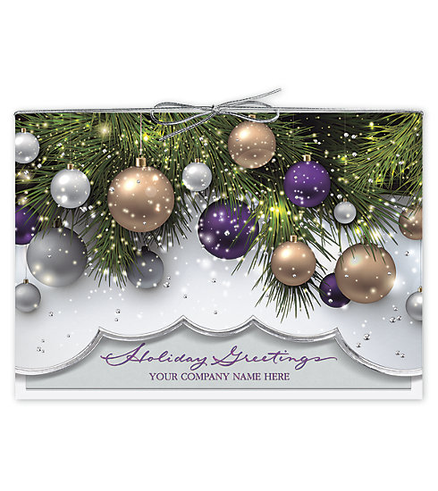 Say it with elegance this holiday season. These cards can be customized with your company name on the front.