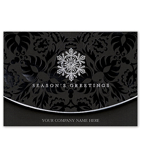Wish your customers the very best with these elegant black linen Christmas Cards. Personalize on the front.