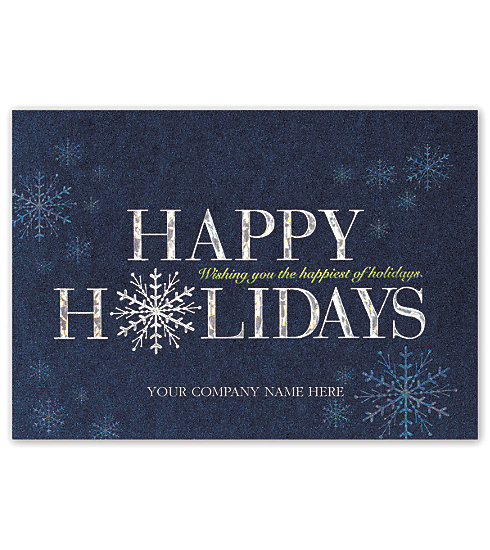 These elegant blue metallic holiday cards printed on linen stock will ensure your good wishes are welcomed by your clients.