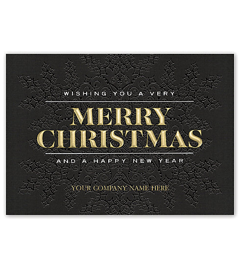 Gorgeous black linen stock make this elegant card the obvious choice for your Christmas client list.