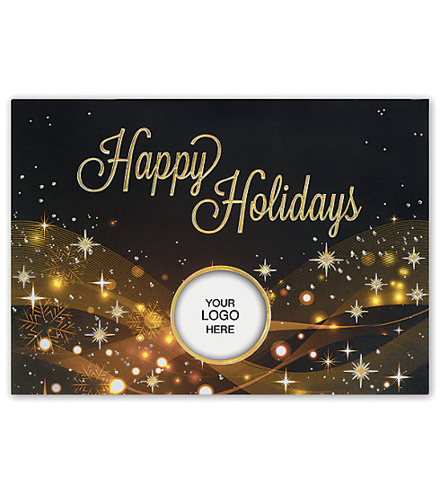 Make this season shine with these gorgeous shiny Holiday Cards.  Features a cut-out window with your company's logo.