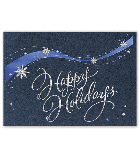 This rich card on blue metallic stock has silver and blue foils and snowflakes.