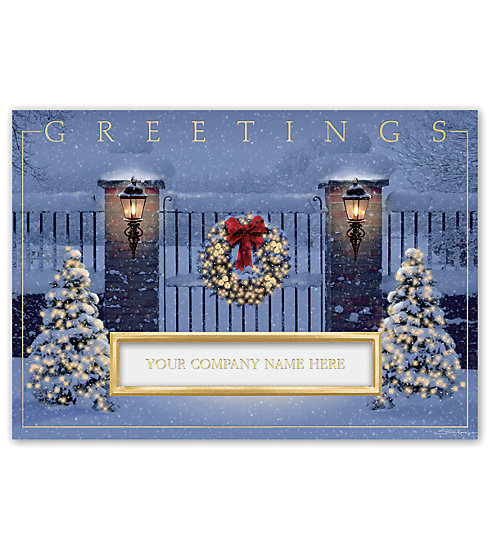 A warm inviting scene adorns the front of this holiday thank you card.