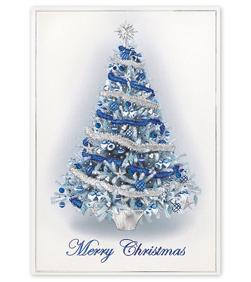A gorgeous blue and silver tree stands tall on this elegant Christmas Card