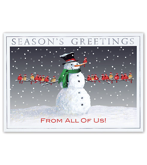An adorable snowman with a flock of cardinals adorns this memorable card.