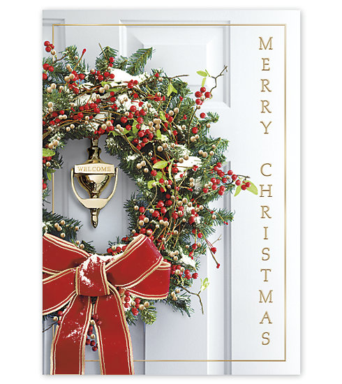 An inviting holiday door and wreath make this card a perfect choice for you this holiday season.