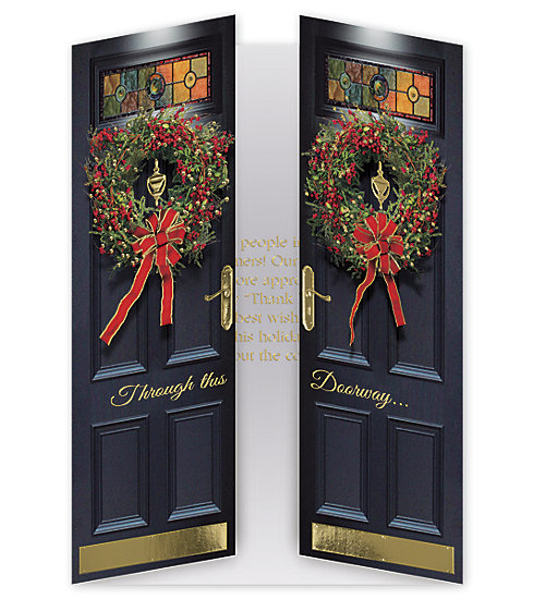 This elegant stained Glass doorway is a beautiful way to send your wishes to everyone on your mailing list.