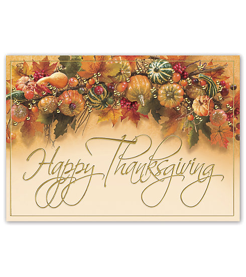 Send the very best with this colorful thanksgiving card adorned with gourds and leaves.