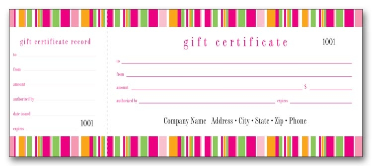 These lively gift certificate books are perfect for any small business.