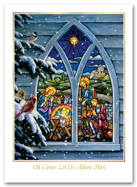Christmas card showcasing the nativity scene through stained glass.