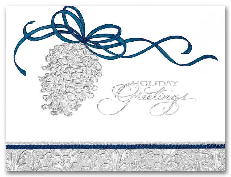 H58947 - Contemporary Holiday Cards | Blue & Silver Holiday Cards