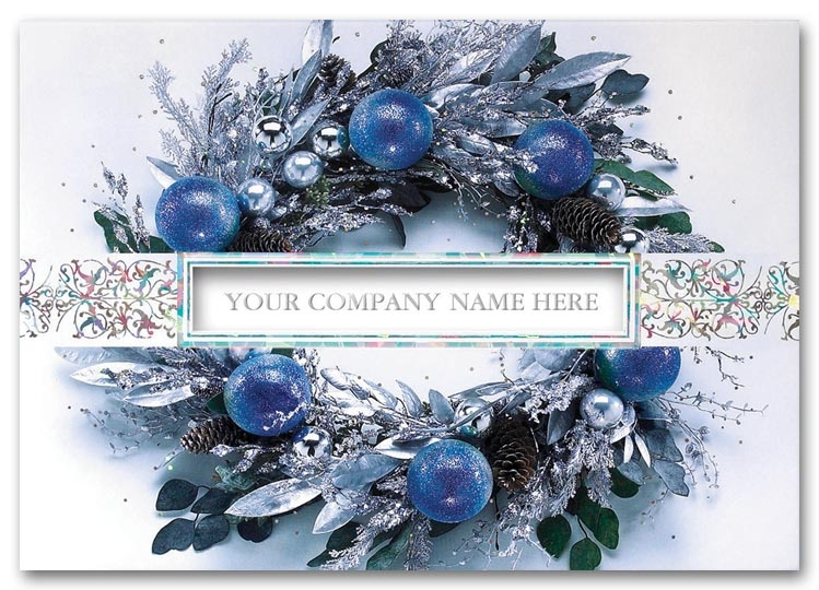 H59204 - Business Holiday Cards | Blue & Silver Foil Business Holiday Cards