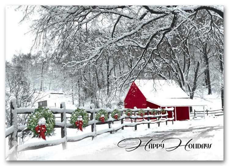 H59408 - Wreath Holiday Cards - Cozy In The Country