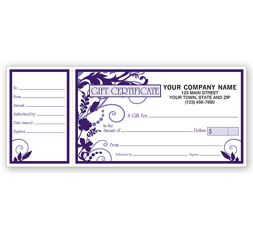 These elegantly designed gift certificates make it easy to share your business with your clients.