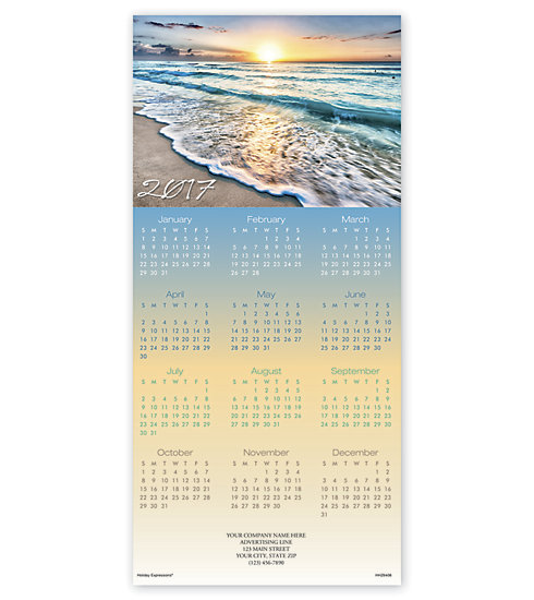 Holiday calendar cards with Tropical Tribute imagery