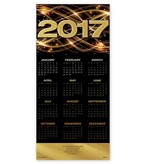 Holiday calendar cards with Welcome 2017 imagery