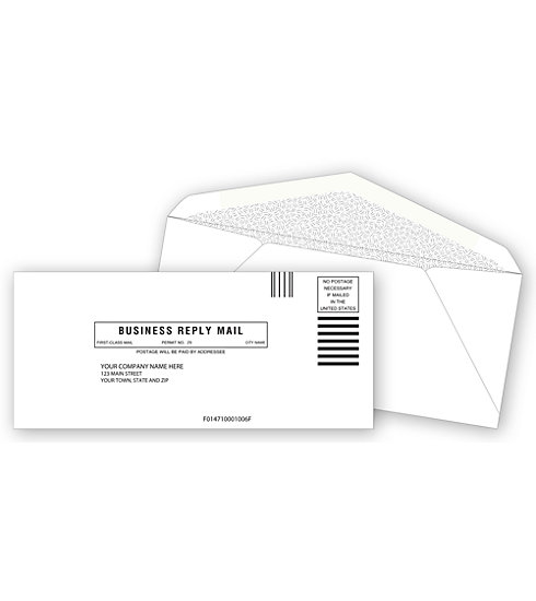 Custom printed number 9 return envelopes with your business information.