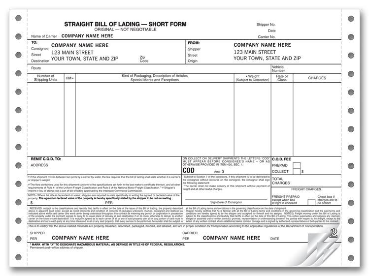 9252 - Continuous Straight Bills of Lading - Short Form