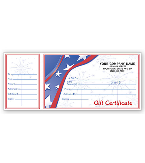 These patriotic Sparkler Gift Certificates show your clients how patriotic your business is.