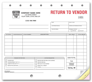 Merchandise Return Forms - Return to Vendor Forms