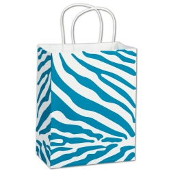 White Small Paper Shopping Bag with Turquoise Zebra Print