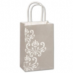Paper Shopping Bag Grey with White Design