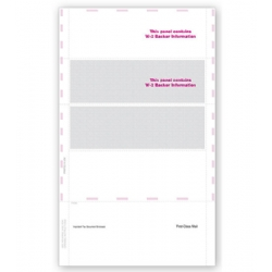 Blank Laser W-2 Tax Forms - Horizontal, Self-Mailer, 4-Up
