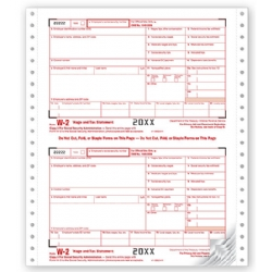 Continuous W-2 Tax Forms - One Wide Set