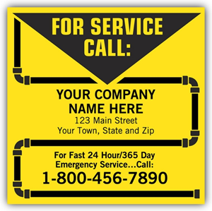 Contractor Service Labels - Yellow with Pipe