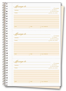 Spiral-Bound Phone Message Book with Numbering