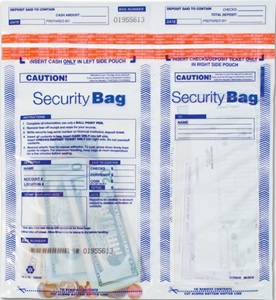 Horizontal Dual-Pocket Cash Deposit Bags