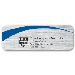 Brushed Silver Label with Blue Arc