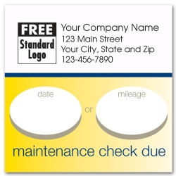 Square static cling auto maintence labels