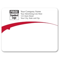 Custom mailing labels with red arc