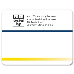 Navy blue and yellow stripes mailing labels