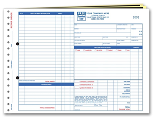 Carbon Copy Auto Repair Order Forms