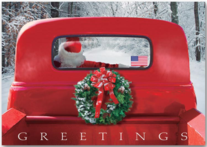 4-Wheeled Sleigh Patriotic Holiday Cards
