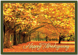 Canopy of Gold Thanksgiving Card for a Business
