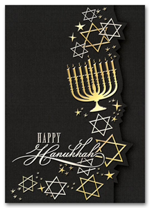 Recycled Hanukkah Cards - Golden Menorah