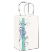Small Paper Shopping Bag White with Blue Flowers