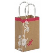 Paper Shopping Bag with White Floral and Butterfly Print