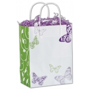 Shopping Bag- White with green purple butterflies