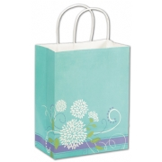 Medium Paper Shopping Bag Blue with White Flowers