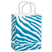 White Medium Paper Shopping Bag with Turquoise Cheetah Print