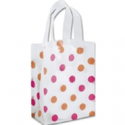 Pink and Orange Dots Clear-Frosted Shopping Bags