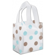 Small Clear Frosted Shopping Bag with Brown and Blue Dots