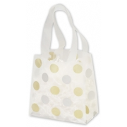 Plastic Frosted Shopping Bag Gold and Silver Polka Dots