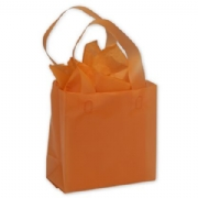 Orange Frosted Plastic Shopping Bags
